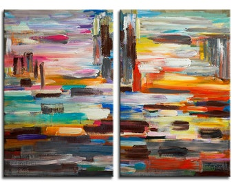 Original Surreal Painting abstract art, large brushwork Impasto texture acrylic painting by Tim Lam 54x30