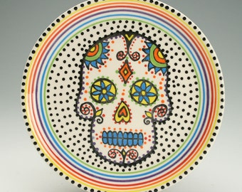 Day of the Dead Plate, Sugar Skull Ceramic Plate, Halloween Decor Decorative Dinnerware
