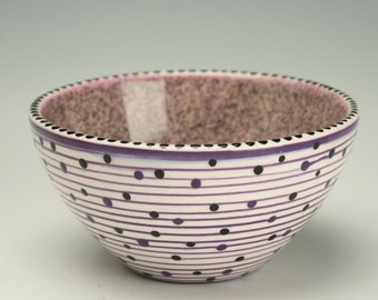 Purples, Black, and Sparkly Flecks Wonderful Bowl Spiral and Dots Hand Painted Multicolorful Dinnerware