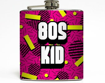 80s Kid Flask Retro Throwback Funny Born in the 80s Adult Women 30th 40th Birthday Gift Stainless Steel 6 oz Liquor Hip Flask LC-1623