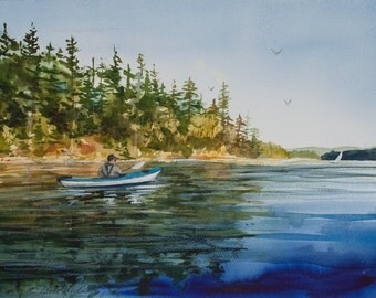 KayaKen, Watercolor Giclee Print, Kayaking, Deer Harbor, Orcas Island, San Juan Islands, Pacific Northwest, sailboat