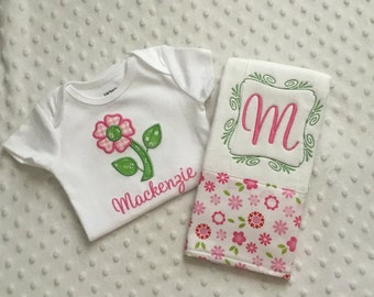 Baby Girl Personalized 2 Piece Gift Set  - Bodysuit and Burp Cloth- Vintage Florals
