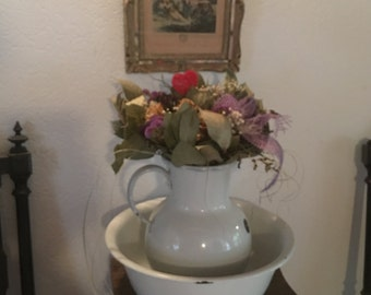 Large French Country Style Graniteware Enamelware Bowl and Pitcher