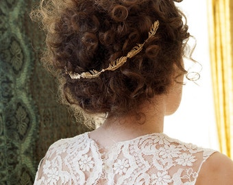 Bridal Hair vine in silver or gold - beautiful wreath style hair accessory for back of head - wedding hair accessory