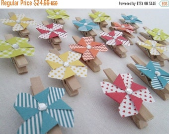 SALE 50% OFF Pinwheels on Clips for Bag Toppers Set of 18 for Pinwheel Favor Bag Wood Clips Birthday Party Favors Baby Shower Bridal Shower