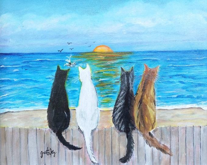 Cat Beach Sunset Print