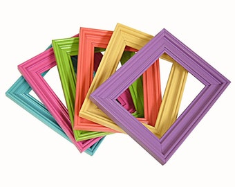 Picture Frame Set Picture Frame 5x7 Picture Frames 6pc Set Bright Colorful Nursery Decor Spring Home Decor Wide Wood Frames