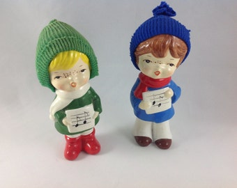 Vintage Christmas Carolers, Ceramic, Made in Korea, Musical Notes, Freckles
