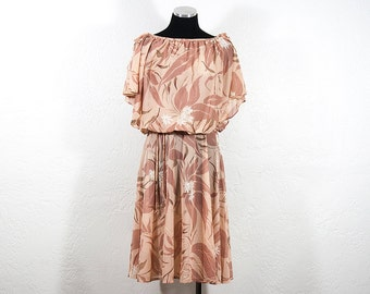 Vintage 1980s Blush Pink Floral Party Dress