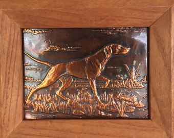 Copper Relief/Hunting Dogs With Cattails /Copper Relief Wall Art/Hammered Copper/ Copper Relief Dog/Mid Century Dog/ By Gatormom13