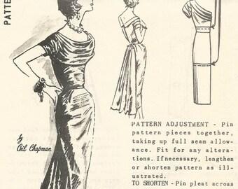 1950s Ceil Chapman Cocktail Dinner Dress American Designer Spadea 1251 Uncut FF Draped Neck Fan Drape Back Women's Vintage Sewing Pattern