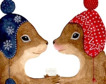 Watercolor squirrels , Woodland nursery, Animal Paintings, Fox, Bear, Deer, fawn, watercolor animal, woodland, kids posters, Squirrel