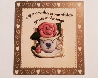 Flower in a Teacup -- Grandmother's Ceramic Pin on a Greeting Card Which Makes a Photo Frame!