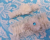 ivory lacy Wedding Garter set , Ivory Lace with blue crystal and rhinestones, shabby chic, shabby flower, Crystal garter set,