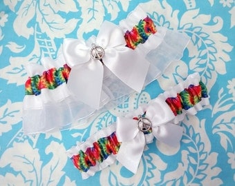 Tie dye wedding garter, rainbow garter set,  Hippie Wedding Garter, peace sign garter, garter, peace rainbow garter