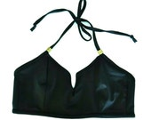 Black V-Neck Halter Bikini Top