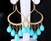 READY FOR SPRING Sale: Ashira Turquoise Pearl Chandelier Matte Gold Gift Present Cz Dangle Drop Earring Perfect for Bride, Wedding, Festive