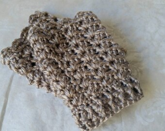 Crochet Fingerless Gloves, Crochet Texting Gloves, Tan-Grey Gloves
