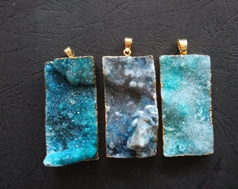 10pcs Ocean Blue Druzy Agate Pendant Rectangle 25x50mm- Gold plated- SIMILAR AS Pictured
