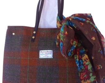 Orange brown Harris tweed tote bag purse handbag tartan gift for women her girlfriend girl large Scottish British