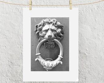 The Famous Italian Lion Door Knocker, Florence Italy, Black and White Fine Art Photo Print