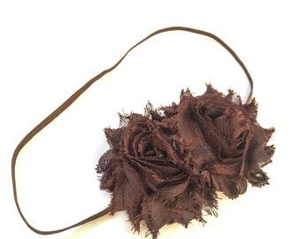 Brown Headband - Chocolate Brown - Girls Brown Flower Headband -Baby Girl Headband - Baby Headbands - Headbands for Girls -  Headband