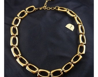 1970's Trifari Rectangle Links Adjustable Necklace with Tag