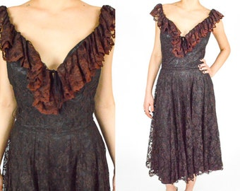 1970's BLACK FLORAL Lace Midi Dress. 70's BOHO Hippie. .Off The Shoulder.High Waisted Les Wilk Designs. 70's Glam Goth Punk