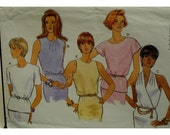 "Suit Blouse Pattern, Halter/Jewel Neck, Sleeveless/Short/Cap/ Cut-in Sleeves, Butterick No. 4056 UNCUT Size 12 14 16 (Bust 34-38""87-97cm)"