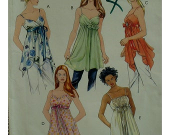 Flowing Camisole Top Pattern, Empire Waist, Heart Shaped Bodice, Shoestring Straps, Asymmetrical Hem, McCalls No. 4836 UNCUT Size 4 6 8 10