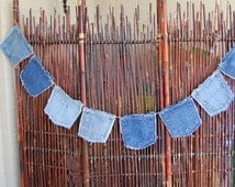 Denim Pocket Bunting with 8 Pockets, Blue Jeans Garland on 11 Feet of Heavy Hemp Cord