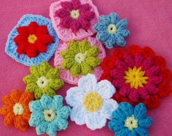 pattern for crochet flowers and granny square with flower