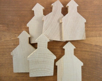 """School House Wood Miniature Shapes 2 7/8"""" x 1 7/8"""" x 1/4"""" Thick - 10 Pieces"""
