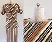 SALE 1960's Cotton Orange Tan & Black Striped Top and Skirt Set Vintage Suit Sz XS Small by Maeberry Vintage