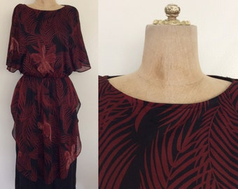1970's Jungle Fern Tunic Top Polyester Dress Vintage Dress Size Small Medium by by Maeberry Vintage