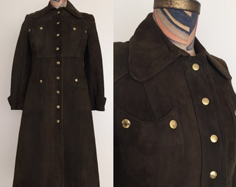 1970's Suede Leather Vintage Trench Coat Size Small Brown Leather Jacket by Maeberry Vintage