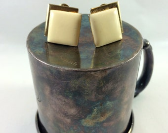 Ivory and gold square clip earrings