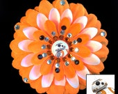 BB-8 Star Wars The Force Awakens Orange Penny Blossom Rhinestone Flower Barrette