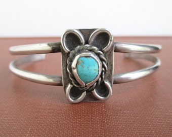 Sterling Silver & Turquoise Cuff Bracelet - Native American, Vintage