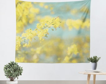 Art Wall Tapestry Sunny Blooms 2 fine art Modern Flower photography home decor bright yellow bokeh circle pastel sky blue geometric abstract