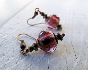 Chunky Drop Earring, Bohemian Dangle Earrings, Czech Glass Jewelry, Bohemian Bijoux, Antique Copper, Rustic Elegance, Amethyst Purple