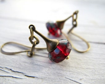 Czech Glass Dangle Earrings, Bohemian Earrings, Long Red Drop Earrings, Boho Hippie Bijoux, Antique Brass Tone, Dangly Earrings Vintage Vibe