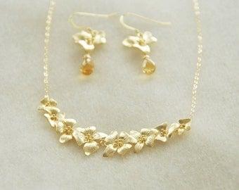 Gold Dogwood Jewelry Set- Dogwood Flower Necklace, Dogwood Earrings, Citrine Earrings, Gemstone Earrings, November Birthstone, Gift for her