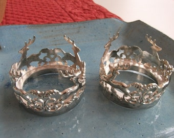 2Pc Vintage silver plated Candle holder-International Silver Company-signed / Silver plated Deer Candle Holder/ Silver Plated Candle Holders