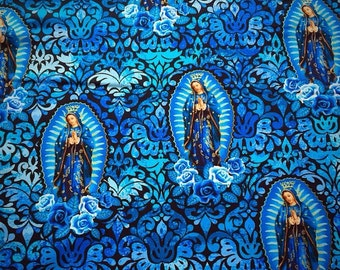 Our Lady of Gudalupe/ Virgin Mary Fabric in blue