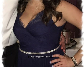 Thin Bridesmaid Sash, Rhinestone Bridesmaids Sash, Skinny Jeweled Wedding Party Belt, Crystal Maid Of Honor Belt, Prom Sash, No. 6000S, SALE