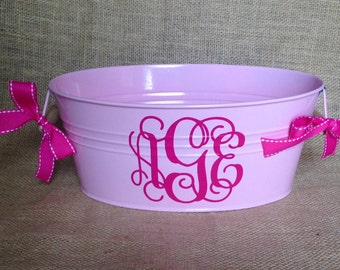 Monogram Bucket - Oval Personalized Bucket - assorted colors