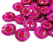 Pink Appliques Bullion Applique Crafting Supply Decorative Patches Indian Supply Floral Sequins Beaded Sewing Appliques By 12 Pieces APS280C