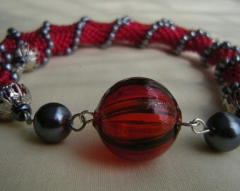 Crocheted Red Gunmetal Beaded Necklace/ Red Gubmetal Beaded Choker