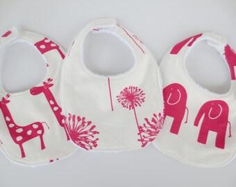 Terrycloth Baby Bib Set - 3 Pink Bibs - Elephant and Giraffe